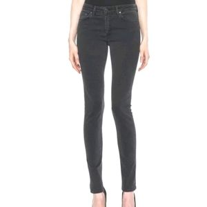 ACNE / Skinny Mid Rise Faded Black Jeans